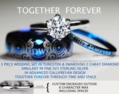 Doctor Who Inspired His 8mm Tungsten and Hers 2 Carat SWAROVSKI  Diamond Simulant In 925 Sterling Silver Wedding Rings, All Custom Engraved
