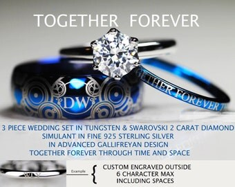doctor who inspired his 8mm tungsten and hers 2 carat swarovski diamond simulant in 925 sterling - Dr Who Wedding Ring