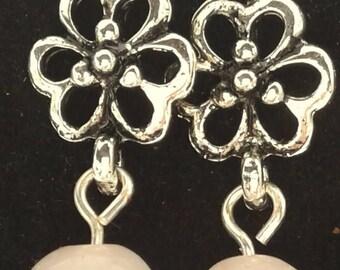 Flowers with Rose Quartz beads
