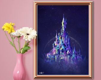 Paris Castle Print. Princess Fairytale Castle Watercolor Style Wall Art. Children Bedroom Nursery Decor.