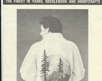 CAMPING CARDIGAN Mary Maxim Graph Style Vintage Knitting Pattern - Button Front Cardigan - Sweater - Size 38, 40, 42, 44 (see 2nd scan)