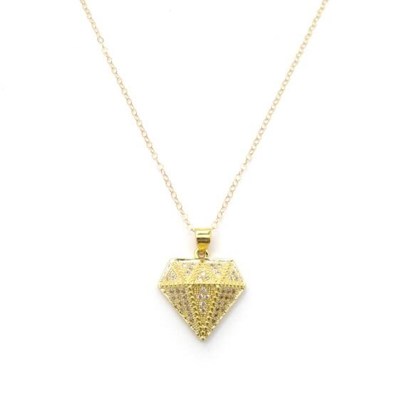 Diamond Necklace, Diamond Pendant, Pave Diamond, Bling Necklace, Geometric Necklace, Bridesmaid Necklace, Bachelorette Gift