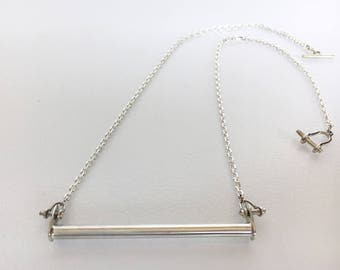 Trapeze Bar Necklace / Sterling Silver / Circus / Aerial