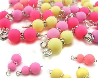 Pink Bead Charms - Pastel Kawaii Dangle Charms - Pink Bead Dangles - Wire-Wrapped Charms DIY Candy Chunky Cha Cha Charm Bracelet - Set 14F