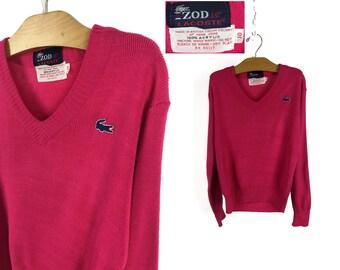 Vintage 70s Kid's / Children's Izod LACOSTE Acrylic Pullover Sweater Size 10 // Crocodile // 1970s // Pink // Retro // Throwback // V Neck