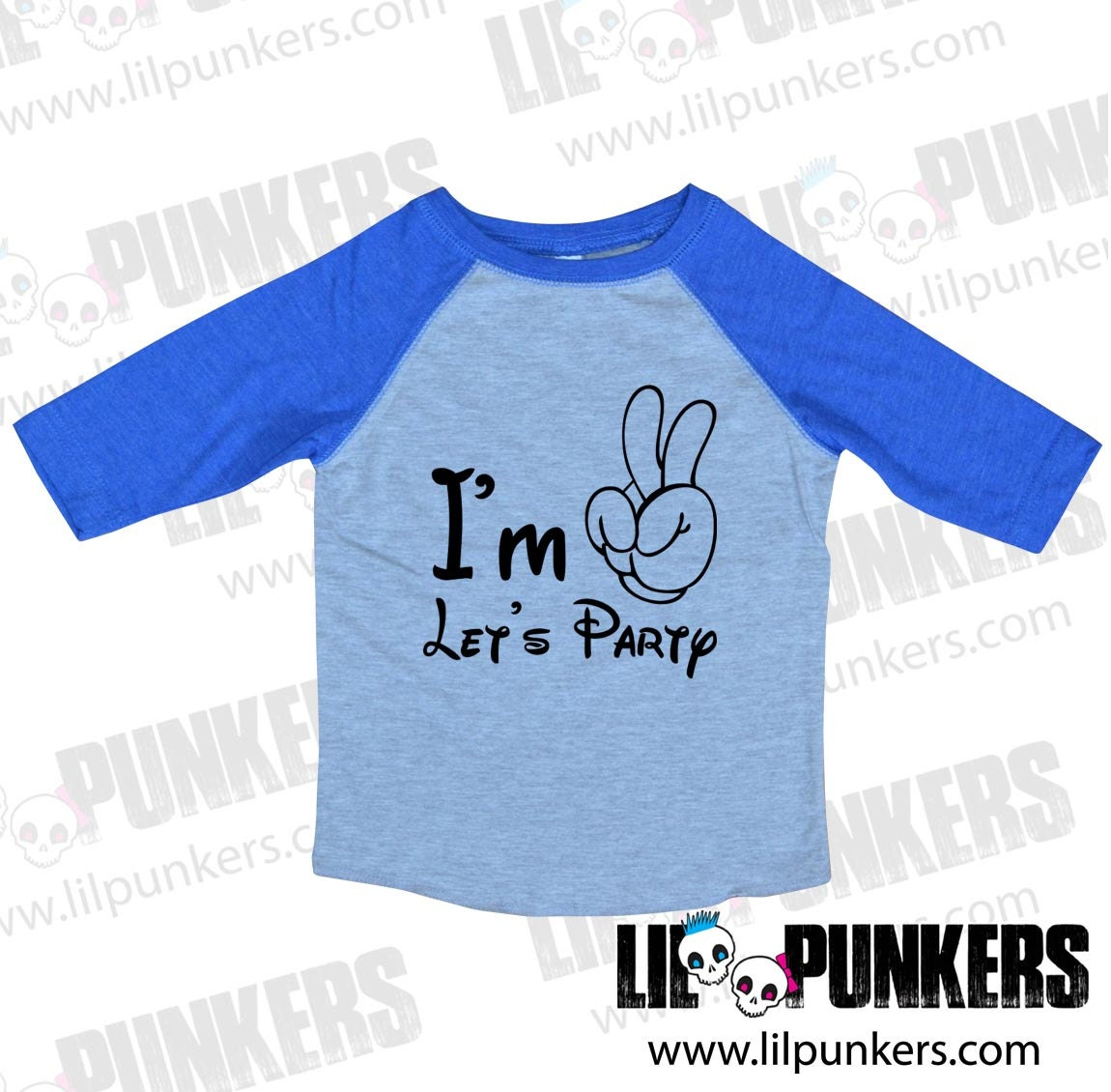 Im Two Lets Party Mouse Hand Vintage Heather Raglan 2nd Birthday