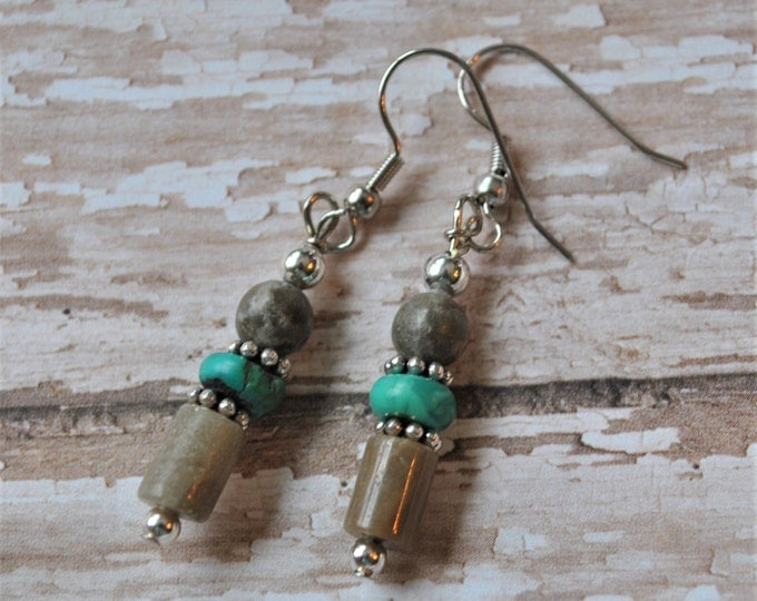 Lake Michigan Petoskey stone earrings with turquoise, sterling silver beads, Up North