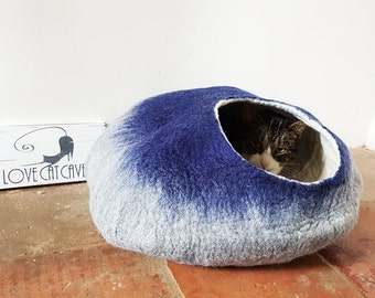 Cat lovers gift cat Bed Cave House cat nap Cocoon cat igloo bed in Natural Grey Blue with Free Ball etsy UK