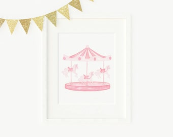 Watercolor carousel in light pink, nursery art, girls room, kids prints