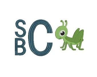 Mini Grasshopper Bug Embroidery Design File for Embroidery Machine Monogram