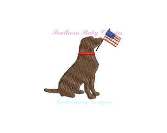 Labrador Lab Dog American Flag Patriotic Mini Boy Design File for Embroidery Machine Monogram  Instant Download Cute Baby Fourth of July 4th
