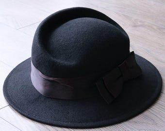 Geo. W. Bollman & Co. vintage black 100% wool hat