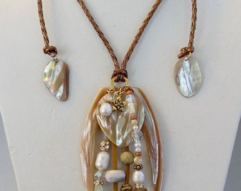 ADJUSTABLE ABALONE NECKLACE with Pearls and Crystals on Metallic Bronze Cord