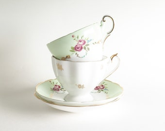 Easy Elegance Tea for Two Bone China Cups and Saucers ENGLAND