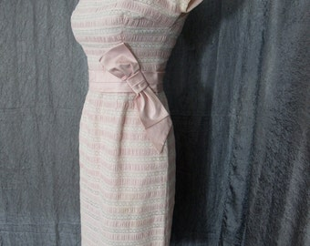 Pretty in Pink 1950s Layered Ruched Cotton and Lace Wiggle Dress
