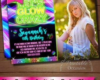 Glow Birthday Invitation, Neon Glow Birthday Party invitation, Glow In The Dark Invitation, Blacklight Invitation, Teen Birthday