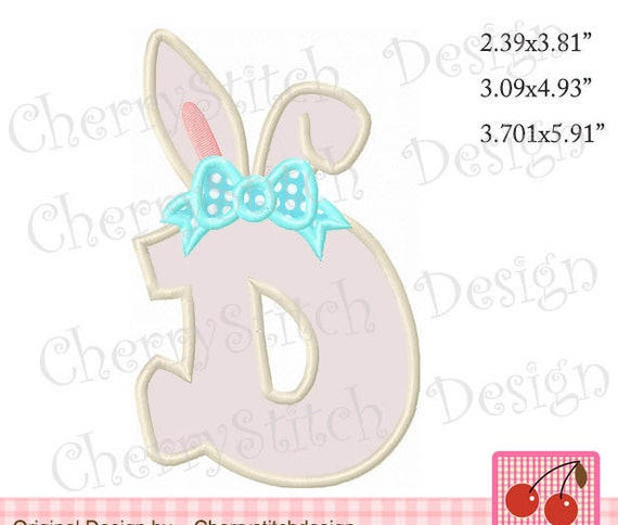 Easter Bunny Monogram D Letter D Easter Machine Embroidery Applique