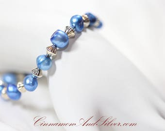 Blue Ocean Treasures Dyed Pearl Nugget and Silver Tone Metal Bead Stretch Bracelet, Beachy Blue and Silver Beaded Stretch Bracelet