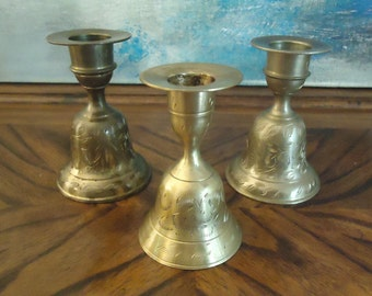 Vintage Set of Three Carved Brass Bell Candle Sticks Combination . India