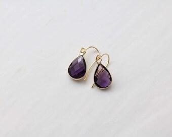 Amethyst Quartz Earrings - Gold Dangle Earrings - Drop Earrings - Birthstone Earrings - Purple Earrings - Amethyst Jewellery - Amethyst