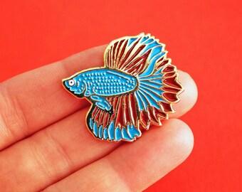 Betta fish, Siamese Fighting Fish, gold enamel pin - badge - lapel pin