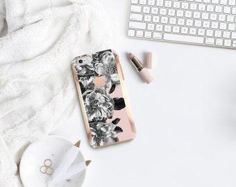 Platinum Edition Black Rose Quartz w/Rose Gold Detailing Hybrid Hard Case Otterbox Symmetry iPhone 6 / iPhone 7 / Galaxy S7 / S7 Edge