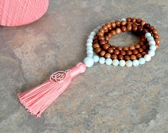 Stone of Success and Abundance - Amazonite And Rosewood 108 Mala Bead Necklace, Tassel Bead Necklace,Bohemian Tassel Necklace, Yoga Necklace
