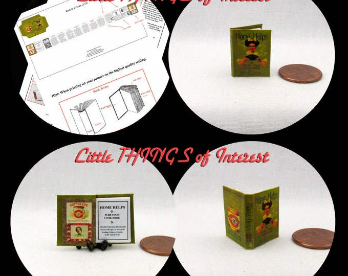 1:12 Miniature Dolls House 12th Scale HOME HELPS COOKBOOK Downloadable Miniature Book Printable Instant Download Project Kitchen Recipe