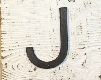 J - 5 Inch Cast Iron Metal Letter J - WITH DRILL HOLES