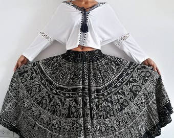 Boho Indian Maxi Skirt. Vintage Material with Adjustment Waist String with Bells at the End. Can be worn as dress or skirt 2 Styles.