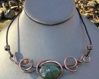 choker, green necklace, green jewelry, copper necklace, wired copper jewelry, green stone necklace, handmade jewelry, leather jewelry