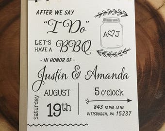 "After we say ""I DO"" Wedding BBQ, Elopement, Announcement, Post-Wedding Reception invitation, Kraft Paper, White Felt Paper, calligraphy"
