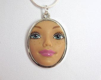 Freckled Barbie Doll Face Necklace | Dollfaced