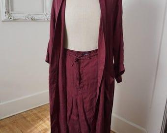 Burgundy Silk Paisley Men's Robe and Pajama Bottoms