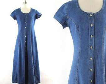 1990s denim maxi dress • fit & flare dress •  long jean dress •  blue denim dress • short sleeve maxi dress • denim duster S