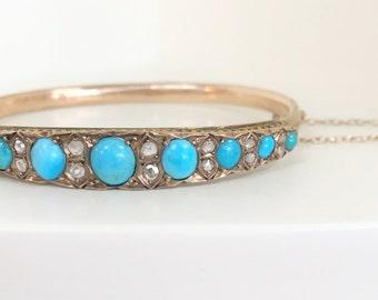 Beautiful Antique Bangle with Turquoise / Rose Cut Diamonds - 14 karat yellow gold