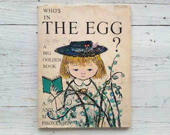 Who's In The Egg Book . 1970 . A Big Golden Book . Alice & Martin Provensen . Large Hardcover . 1970's Children's Book . Vintage Kid's Story