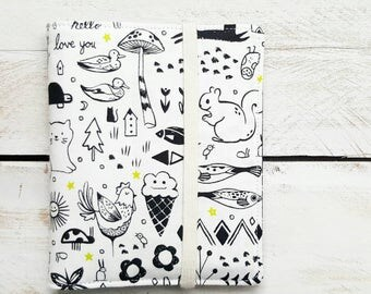 Family of 6 Passport Case Wallet, Passport Holder for up to 6 Six Passports, Sweet Dreams in White by Sarah Watts