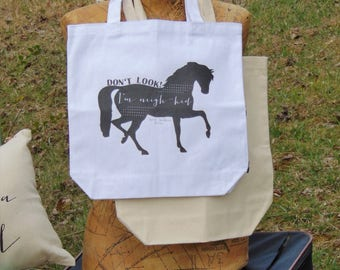 Don't Look, I'm Neigh-kid Canvas Tote Bag