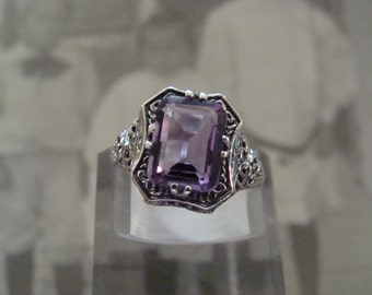 Pretty Sterling Brazilian Amethyst Filigree Ring  Size 6.75 Victorian style