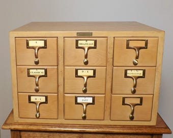 Card Catalog ~ Bro-Dart Industries 9 Drawer Wood Cabinet ~ Utility ~ Storage for Smalls ~ Wood Card Catalog ~ 1950s-60s