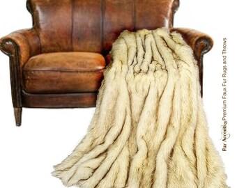 Plush Faux Fur Throw Blanket, Bedspread - Luxury Fur - Brown Tip Arctic Fox - Minky Cuddle Fur Lining - Fur Accents USA