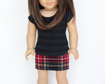 American Girl doll sized striped T-shirt - black and grey