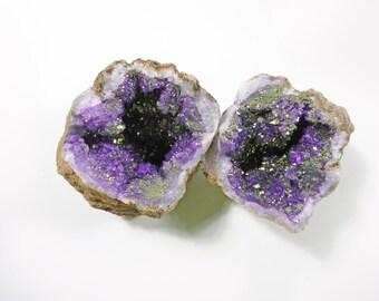 Pair Purple Gold Titanium Geode, Druzy Moroccan Crystal Cluster, Moroccan Geode, Titanium Geode, Titanium Crystal Quartz, Druzy Geode Set