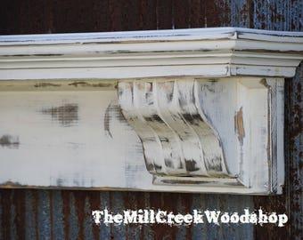 "20% OFF Ready to Ship Handmade Corbel 60"" Shelf Distressed Fireplace Mantel Floating Shelves Farmhouse Wooden Headboard Rustic Home Decor"