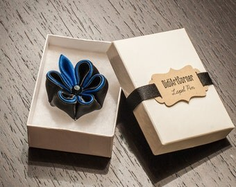 Black with Blue Accent Adonis Kanzashi Flower and Blue Leaf with Black Crystal, Lapel Pin, Men's Lapel Pin