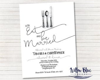 Eat and Be Married Rehearsal Dinner Invitation, #600 5x7 Rehearsal Dinner Invitation
