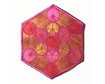 Sacred Geometry Patch Metatron's Cube Handmade Silk Applique Mango Sacral Chakra
