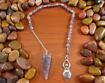 Lepidolite Goddess Pendulum - Lepidolite Pendulum, Goddess Pendulum, Lepidolite, Goddess, Pagan, Wiccan, Divination, Fertility, Dowsing
