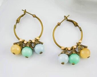 Ethnic creole hoops earrings - bronze leaves - aventurine and jade - earrings for woman boho - bohemian - party gift